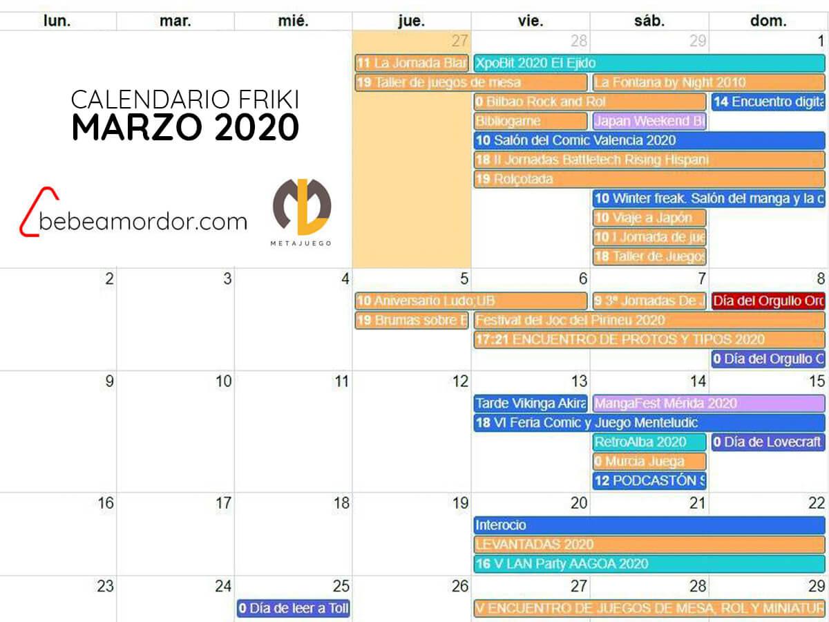 calendario friki marzo2020