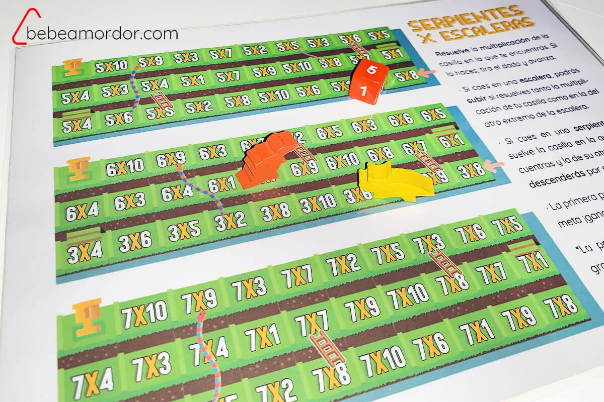 imprimible para aprender las tablas de multiplicar jugando