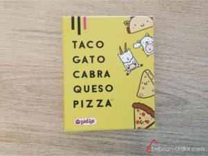 Caja del juego Taco Gato Cabra Queso Pizza, donde aparecen todos esos nombres