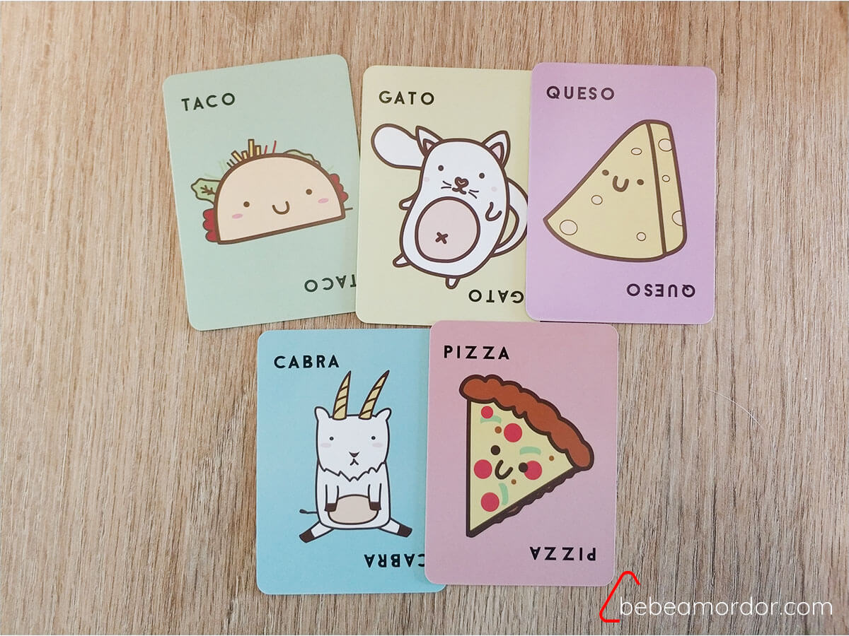 cartas de Taco Gato Cabra Queso y Pizza