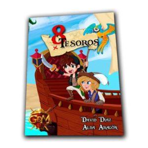 portada juego de rol 8 tesoros piratas para niños