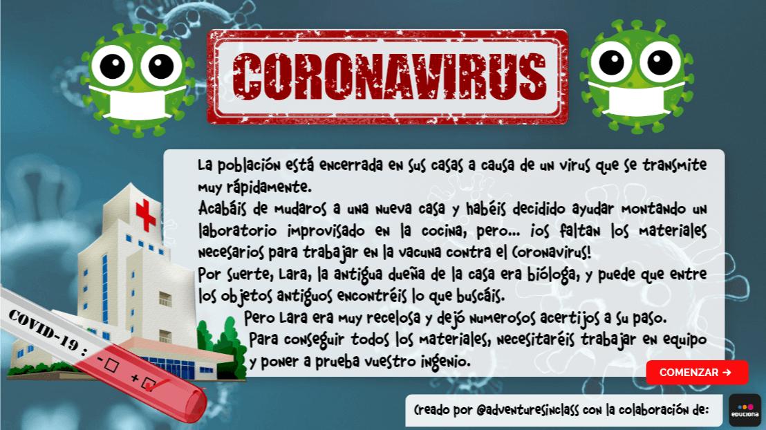 Coronavirus en casa - juego escape room infantil