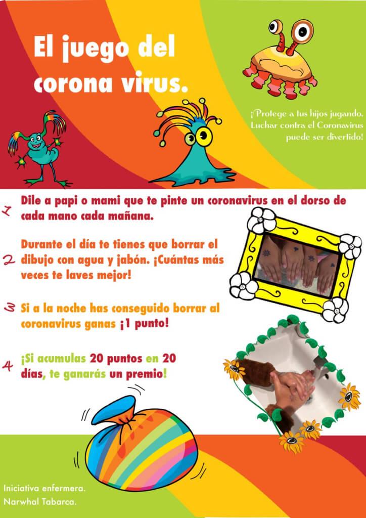 juego coronavirus en la mano
