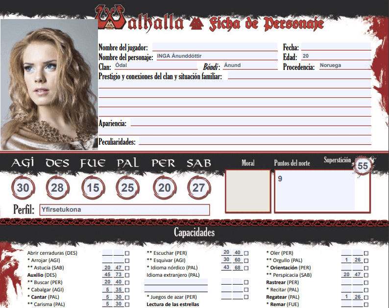 Ficha de personaje de Walhalla