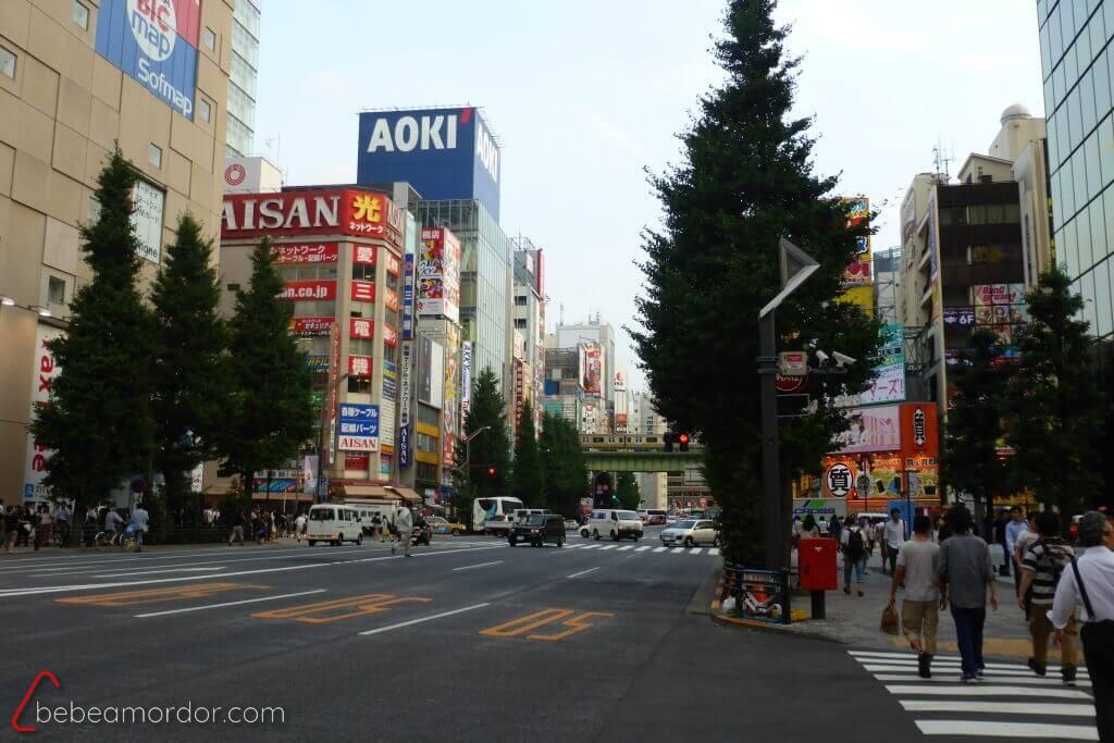 Vista del barrio de Akihabara en Japón viajar con niños