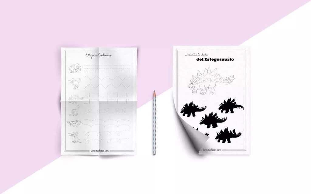 PASATIEMPOS imprimibles gratuitos para niños y niñas de dinosaurios