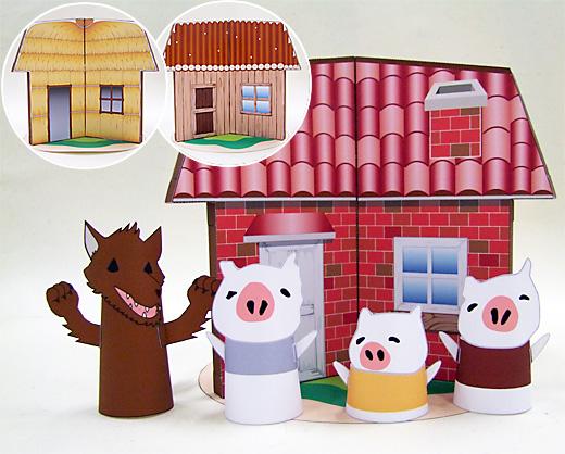 Manualidades gratis para niños Japón Los 3 Cerditos