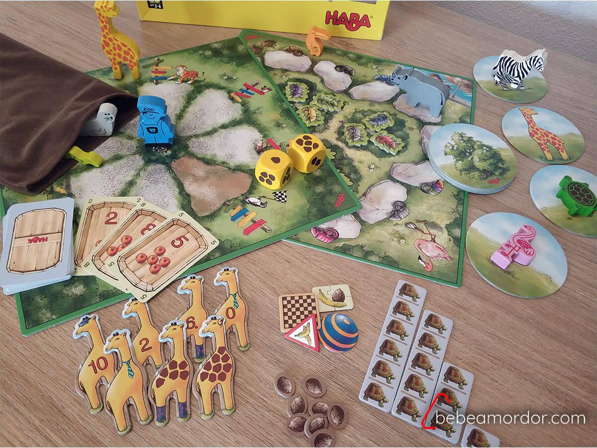 Componentes juego de mesa El Primer Zoo Haba.