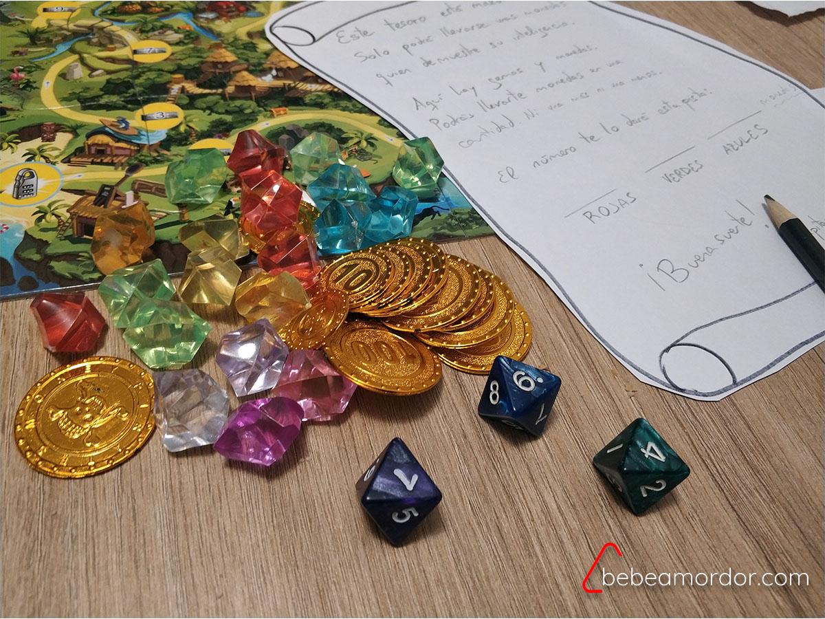 Mapa, monedas, dados, papel y gemas para 8 Tesoros