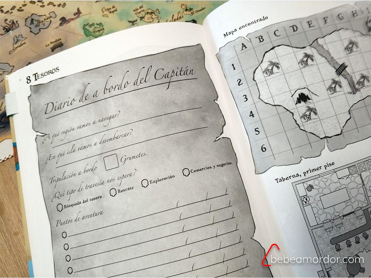 Diario de a Bordo del Capitán y mapa