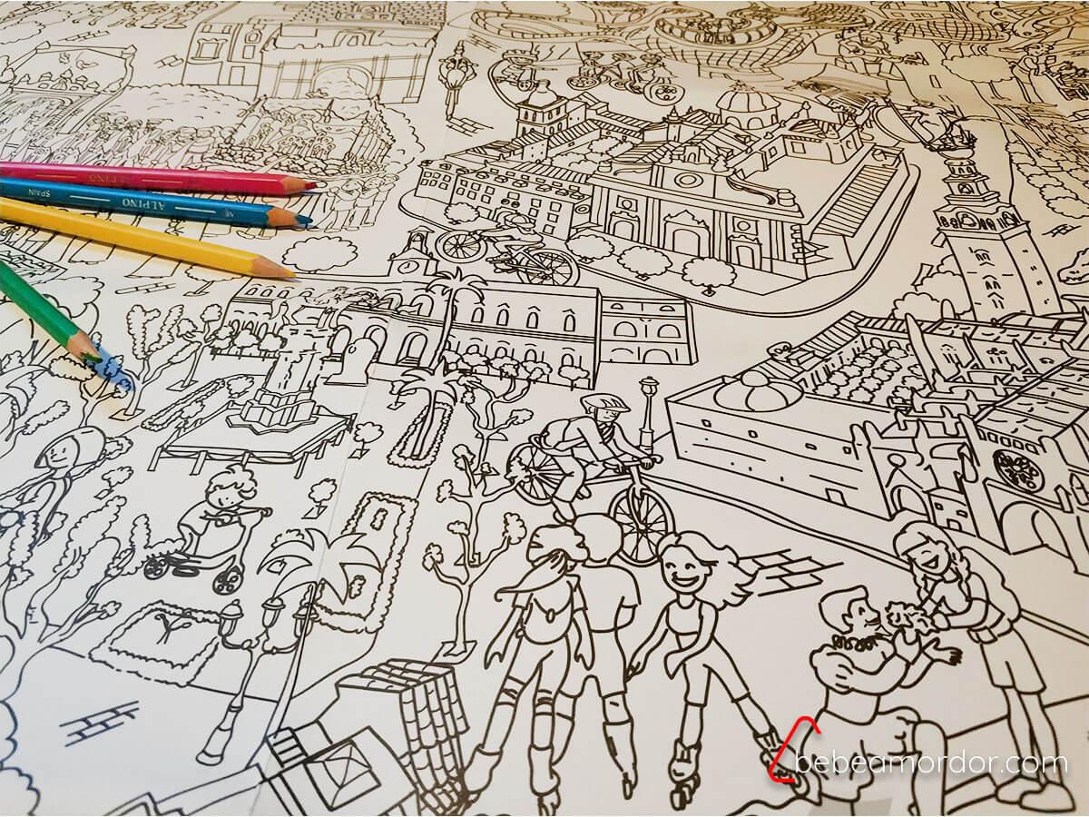 Pinta y pinto mapa de Sevilla para colorear.